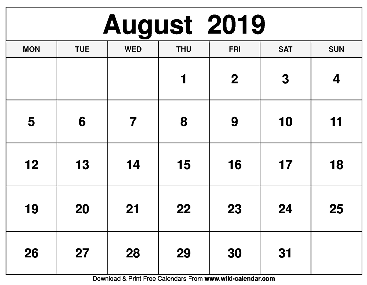 graphic about Free Printable Calendar August named No cost Printable August 2019 Calendar