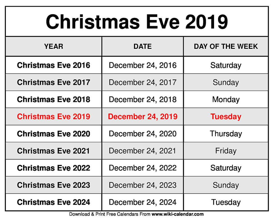 Christmas Eve 2019.Free Printable December 2019 Calendar