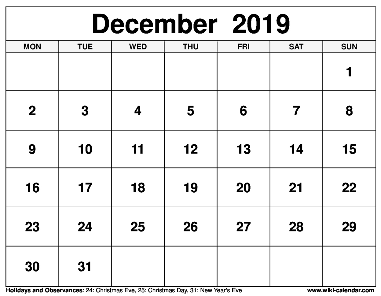 image relating to Free Printable Calendar Dec identified as Cost-free Printable December 2019 Calendar