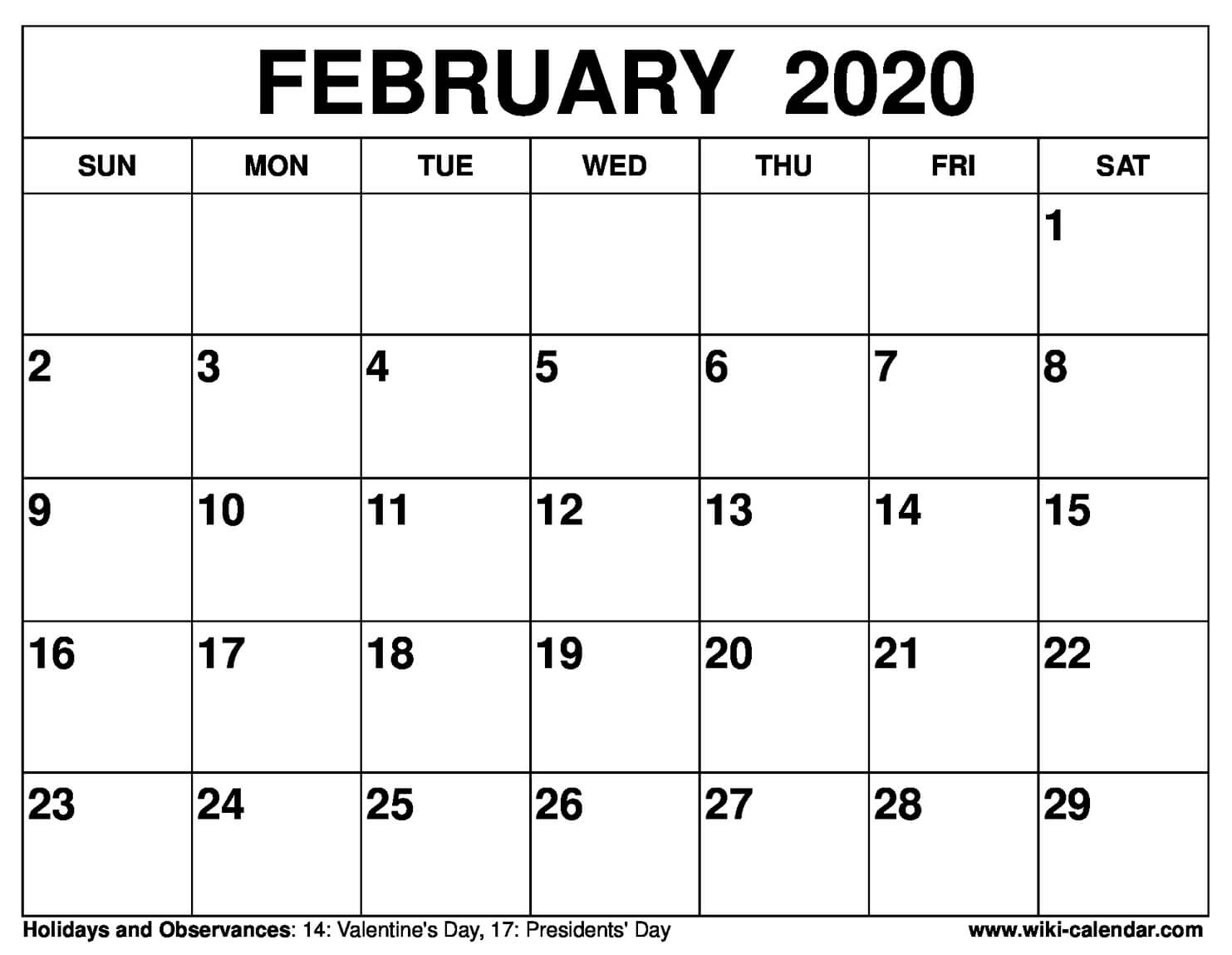 picture regarding Printable Calendar February identify Totally free Printable February 2020 Calendar
