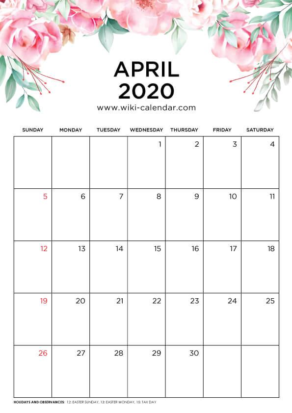 Free Printable April 2020 Floral Calendar