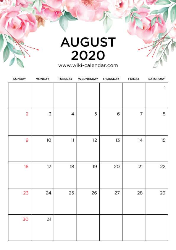 Free Printable August 2020 Floral Calendar