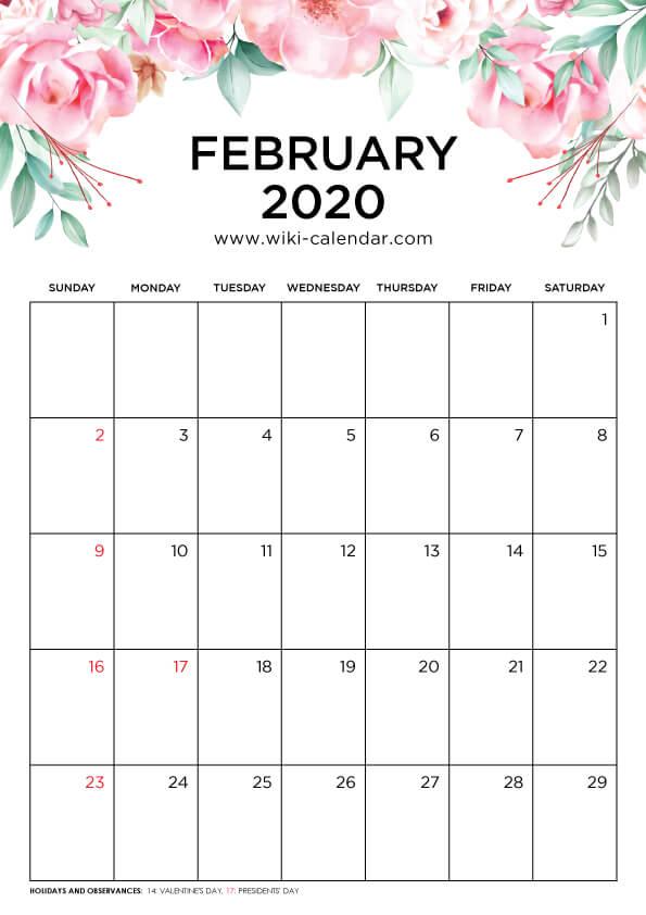 Free Printable February 2020 Floral Calendar