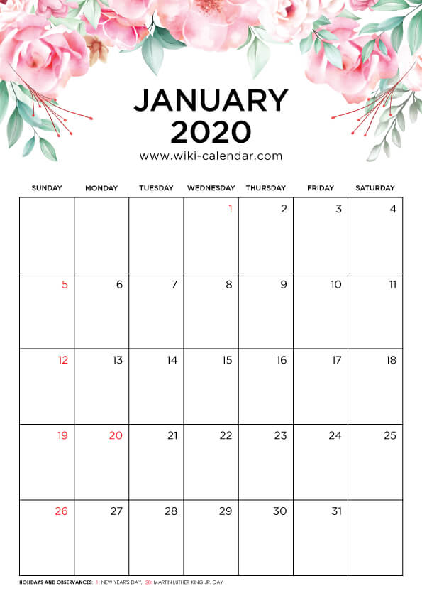 Free Printable January 2020 Floral Calendar
