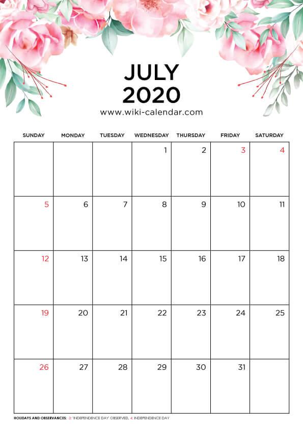 Free Printable July 2020 Floral Calendar