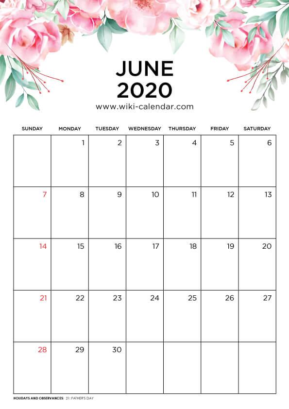 Free Printable June 2020 Floral Calendar