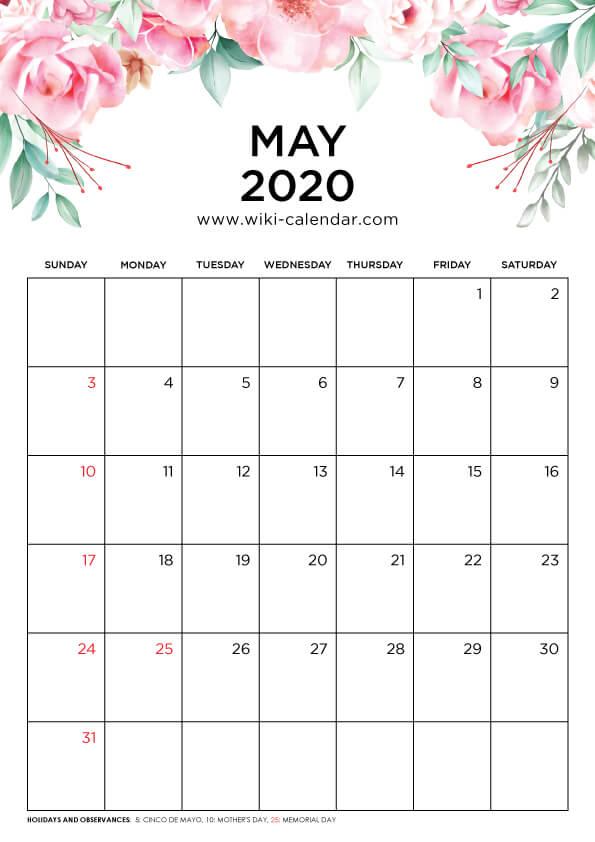 Free Printable May 2020 Floral Calendar