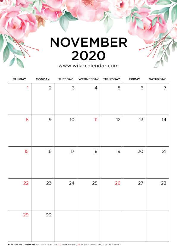 Free Printable November 2020 Floral Calendar