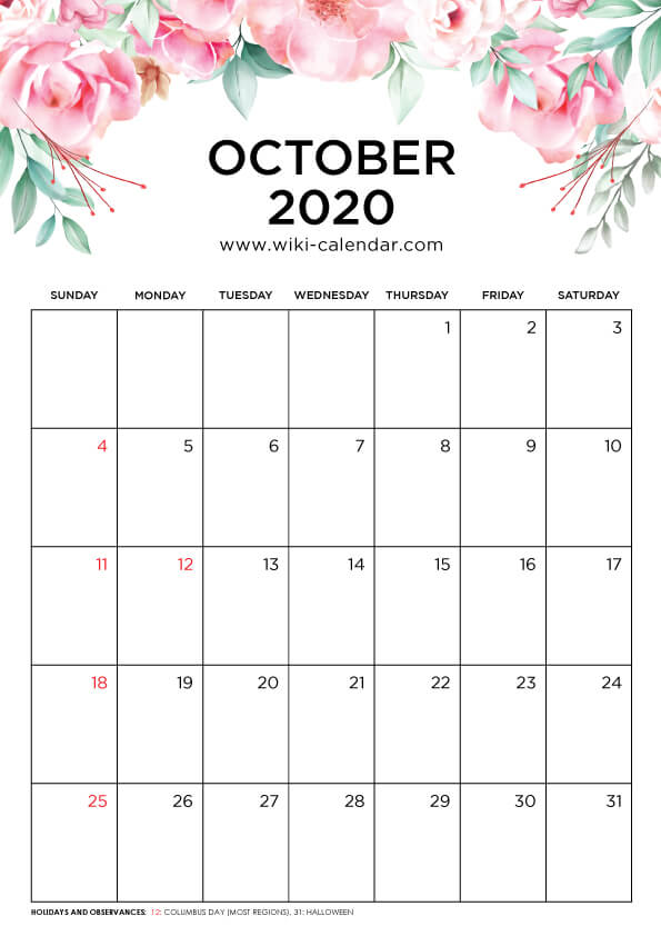 Free Printable October 2020 Floral Calendar