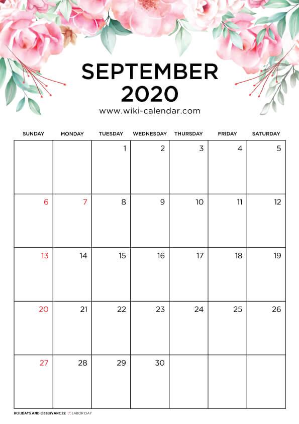 Free Printable September 2020 Floral Calendar