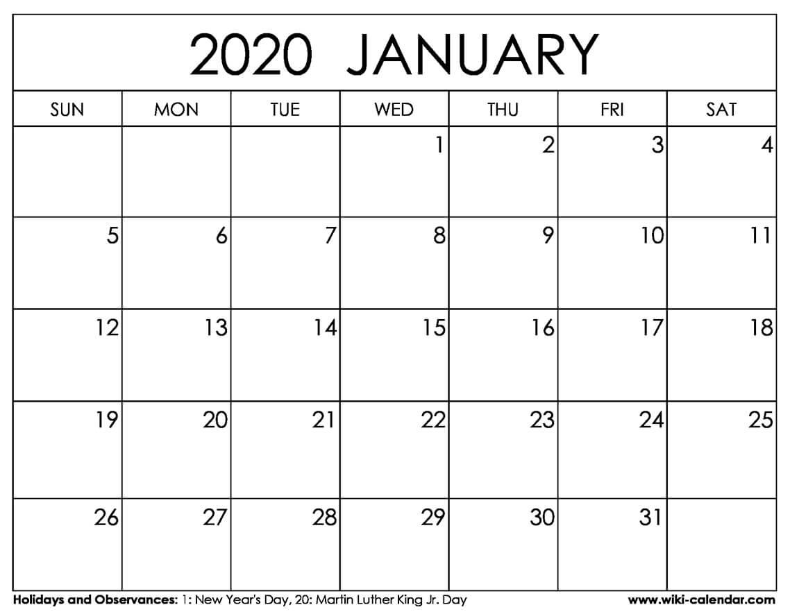 January 2020 Calendar Template