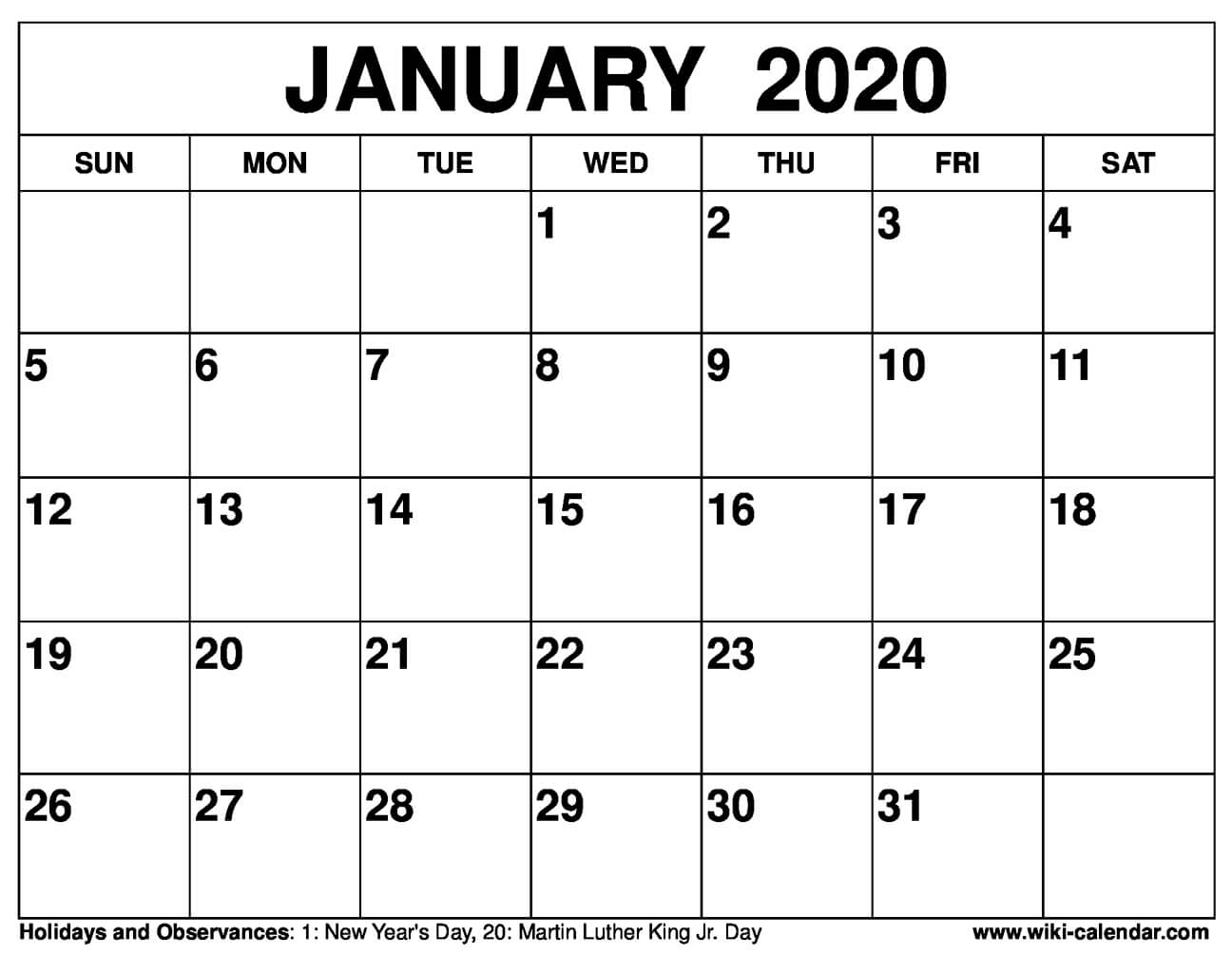 image relating to Printable 2020 Calendar identified as Totally free Printable January 2020 Calendar
