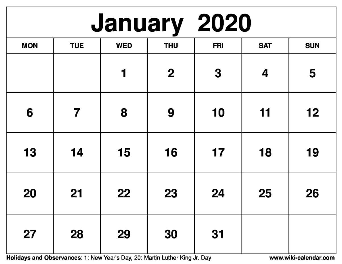 January 2020 Printable Monday Calendar