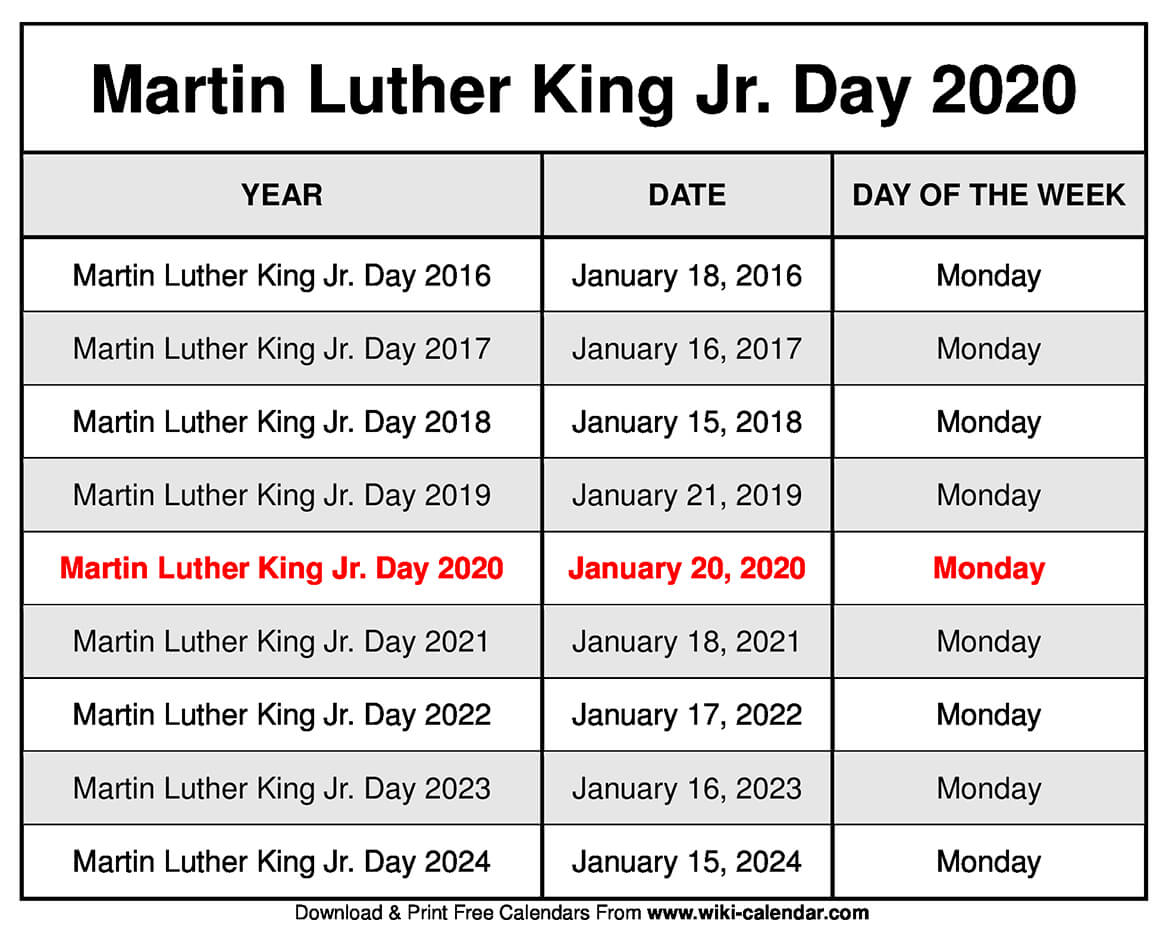 Martin Luther King Jr. Day 2020 Calendar