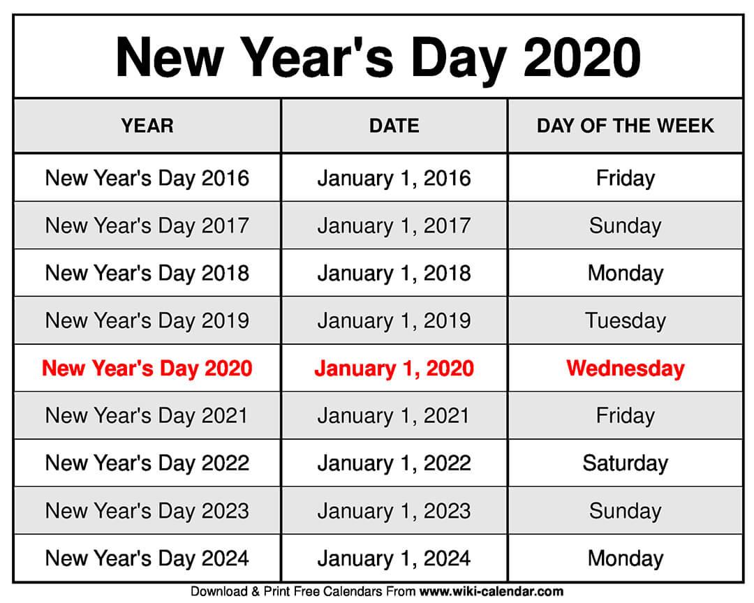 New Year's Day 2020 Calendar