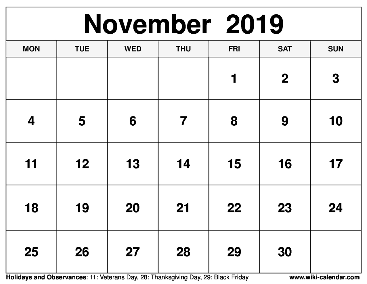 photograph regarding Printable November Calendars identify Free of charge Printable November 2019 Calendar