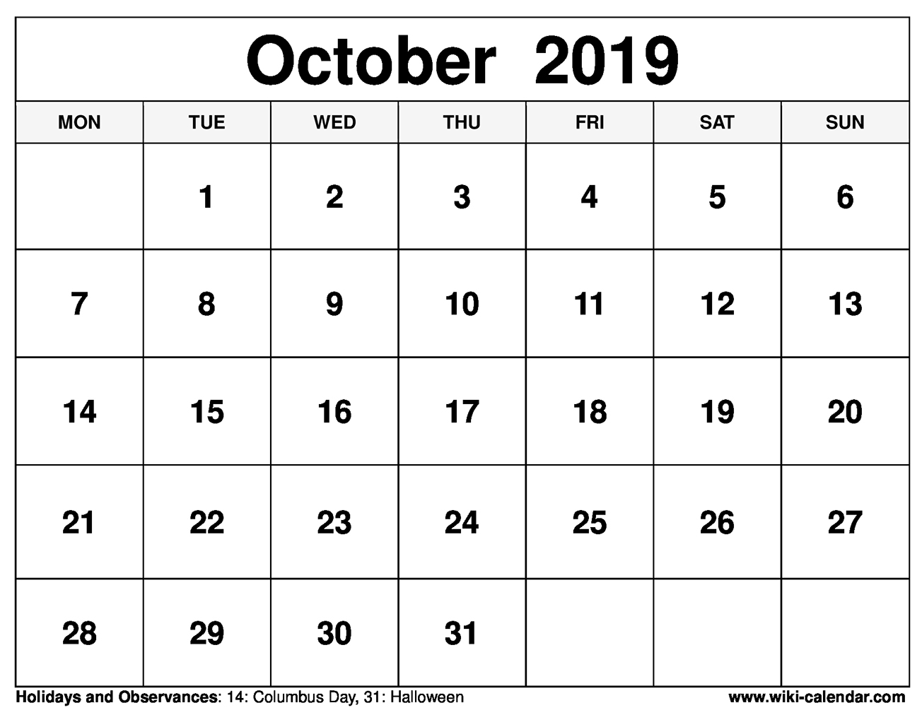 graphic relating to Free Printable October Calendars identified as No cost Printable Oct 2019 Calendar