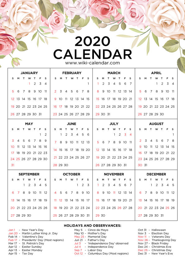 Printable 2020 Floral Calendar One Page