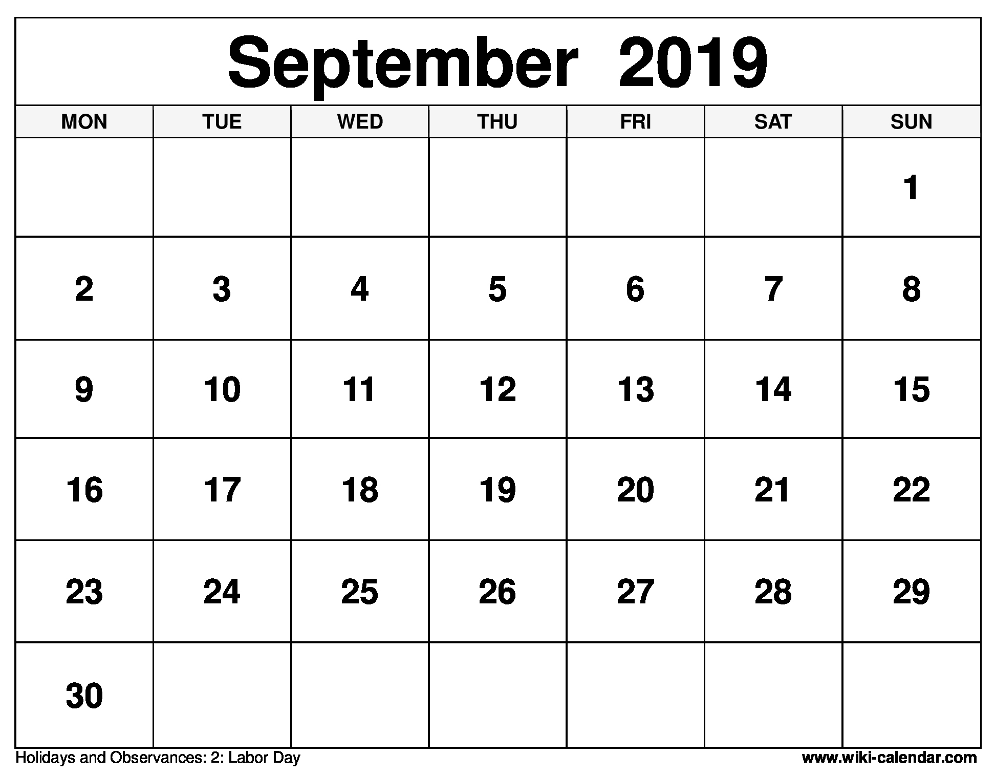 September 2019 Printable Monday Calendar