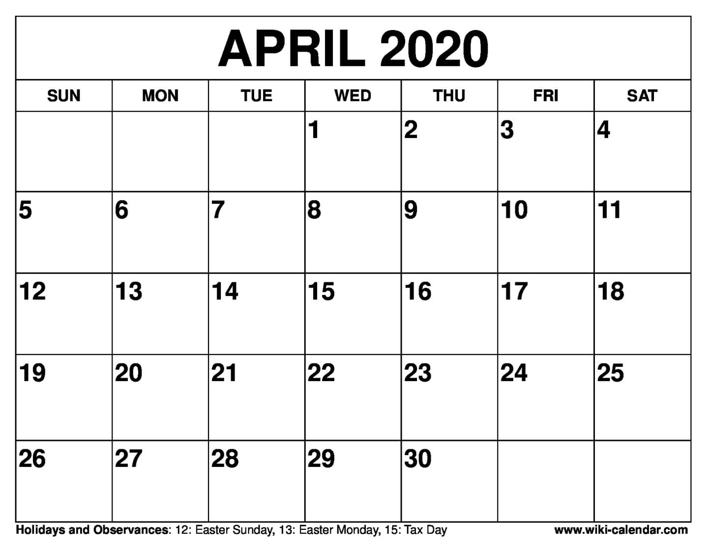 photo regarding Printable Calendar April named Free of charge Printable April 2020 Calendar