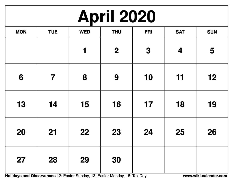 April 2020 Printable Monday Calendar