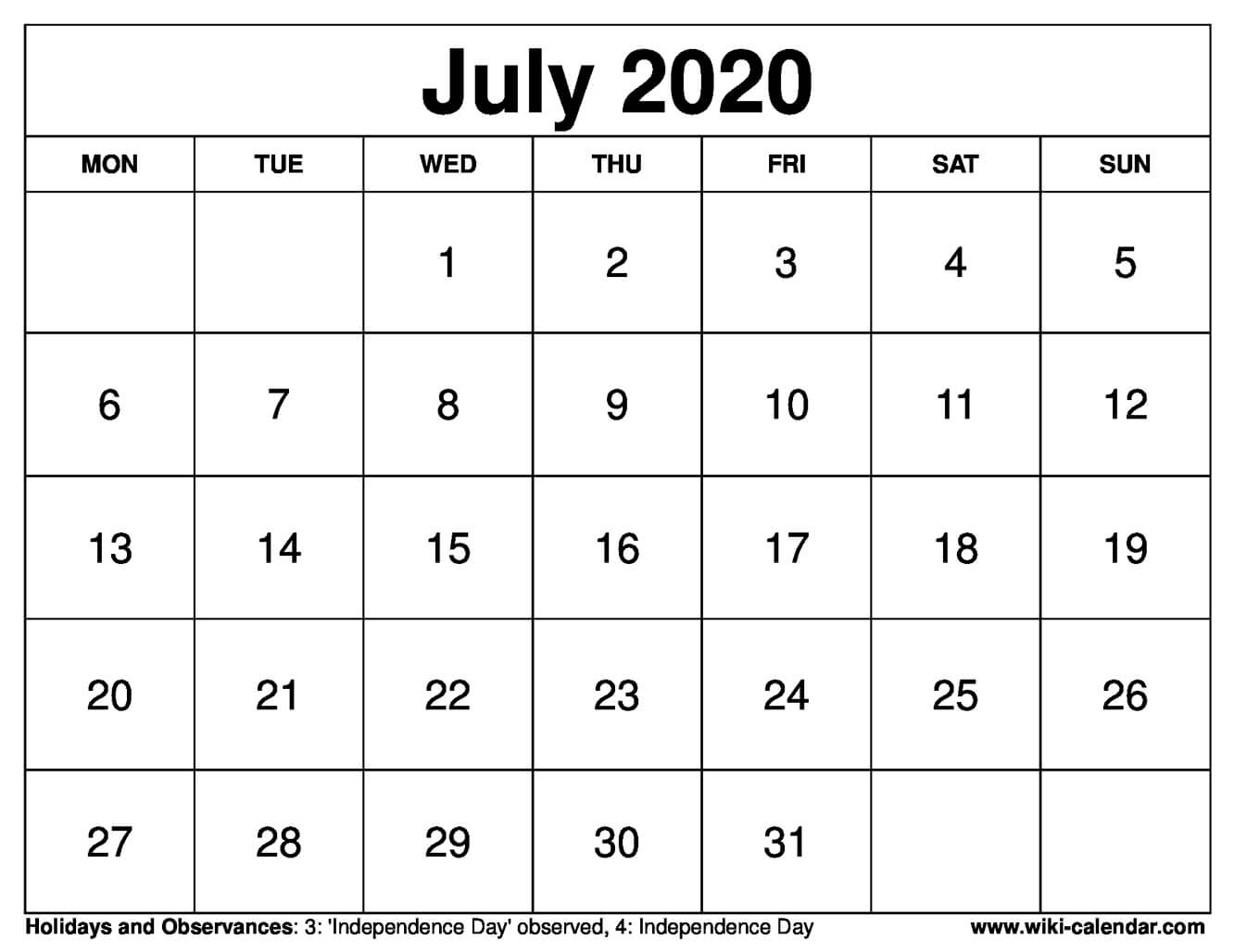 graphic about Printable July Calendar known as No cost Printable July 2020 Calendar