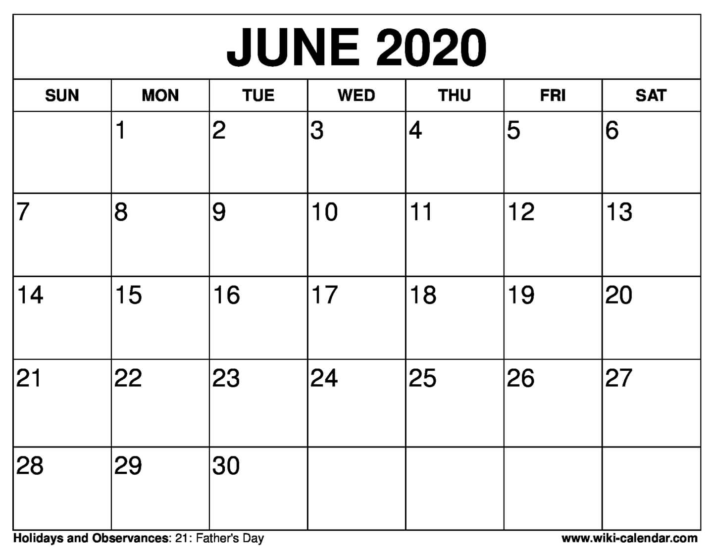 graphic regarding Printable June identified as Totally free Printable June 2020 Calendar