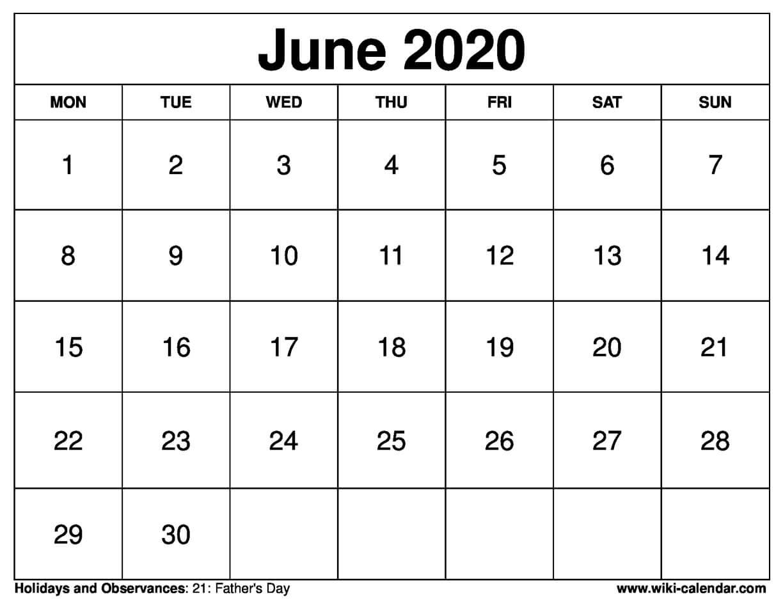 June 2020 Printable Monday Calendar