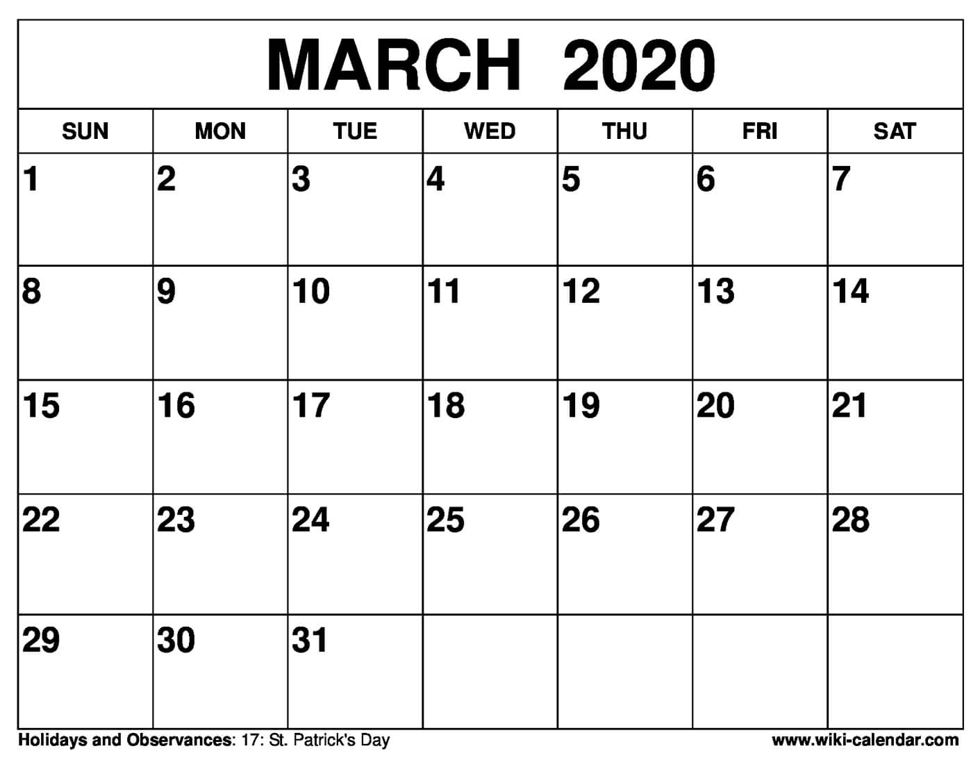 graphic regarding Calendar March Printable named No cost Printable March 2020 Calendar