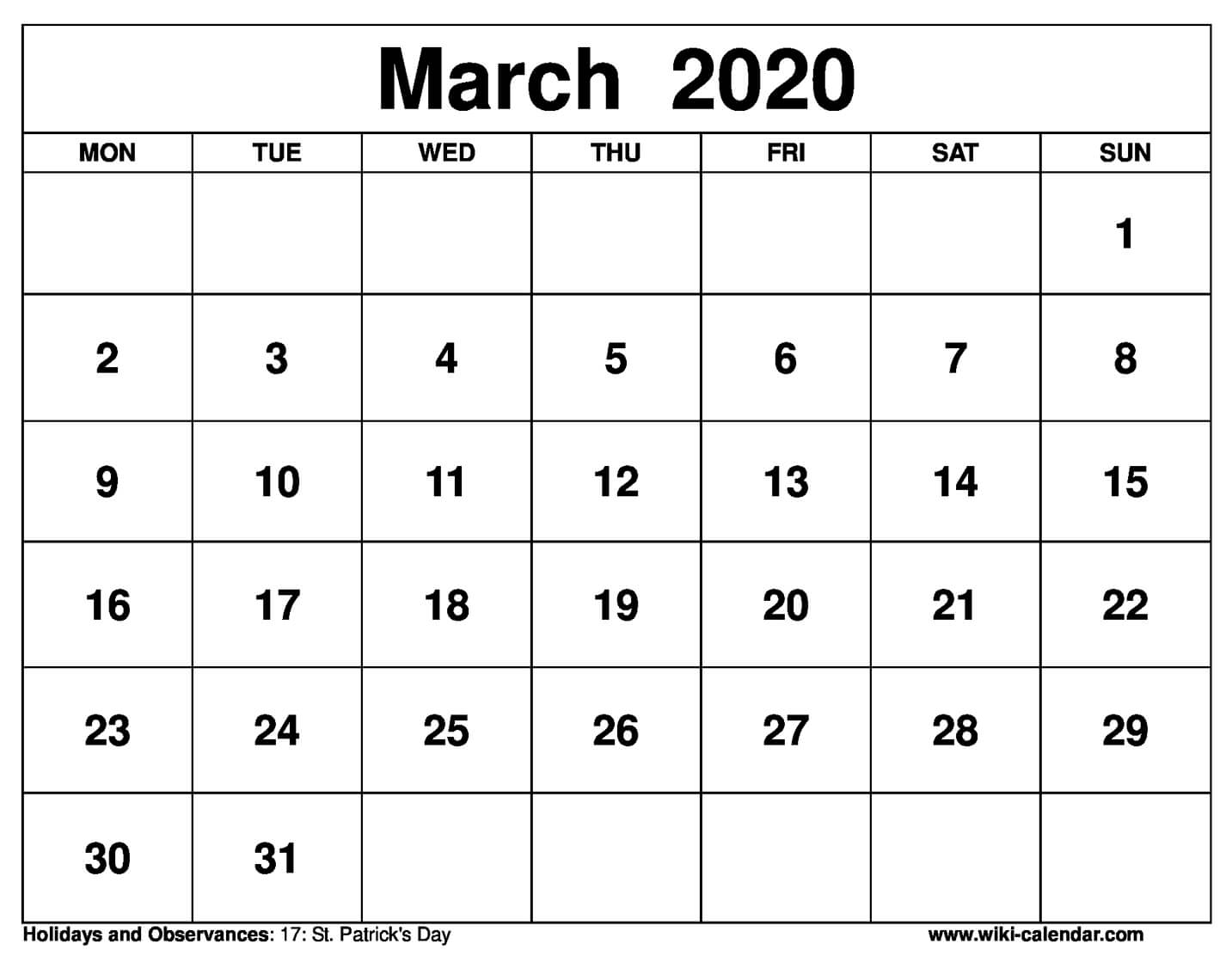 March 2020 Printable Monday Calendar