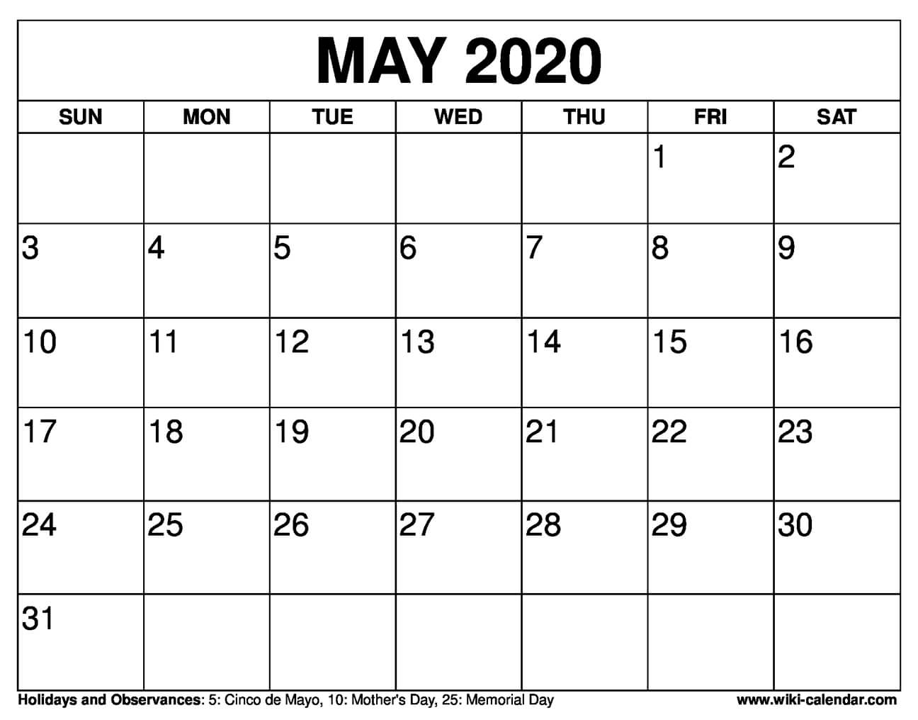 picture relating to Calendars Free Printable called No cost Printable Might 2020 Calendar
