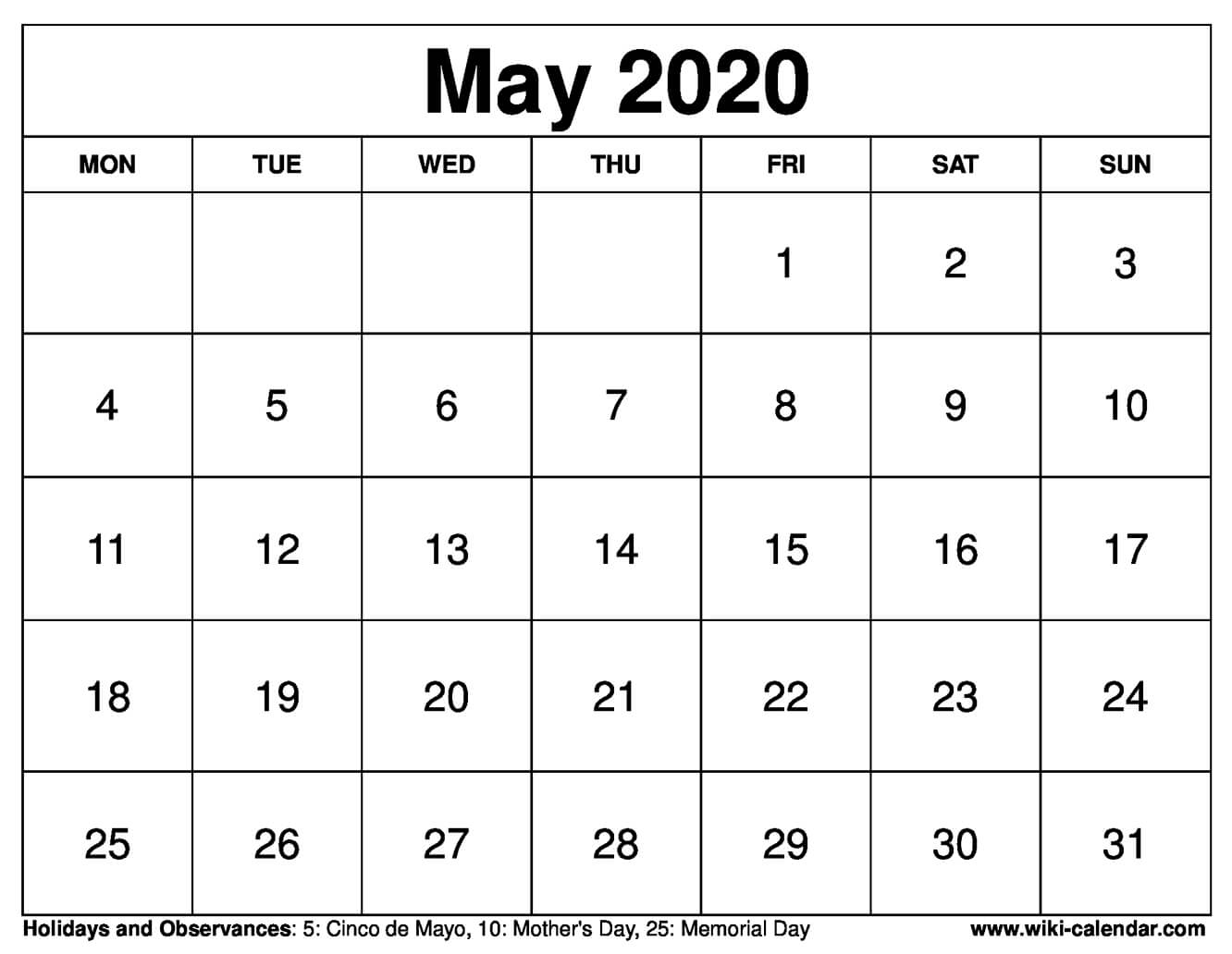 picture regarding Printable May Calendars named Free of charge Printable Could possibly 2020 Calendar