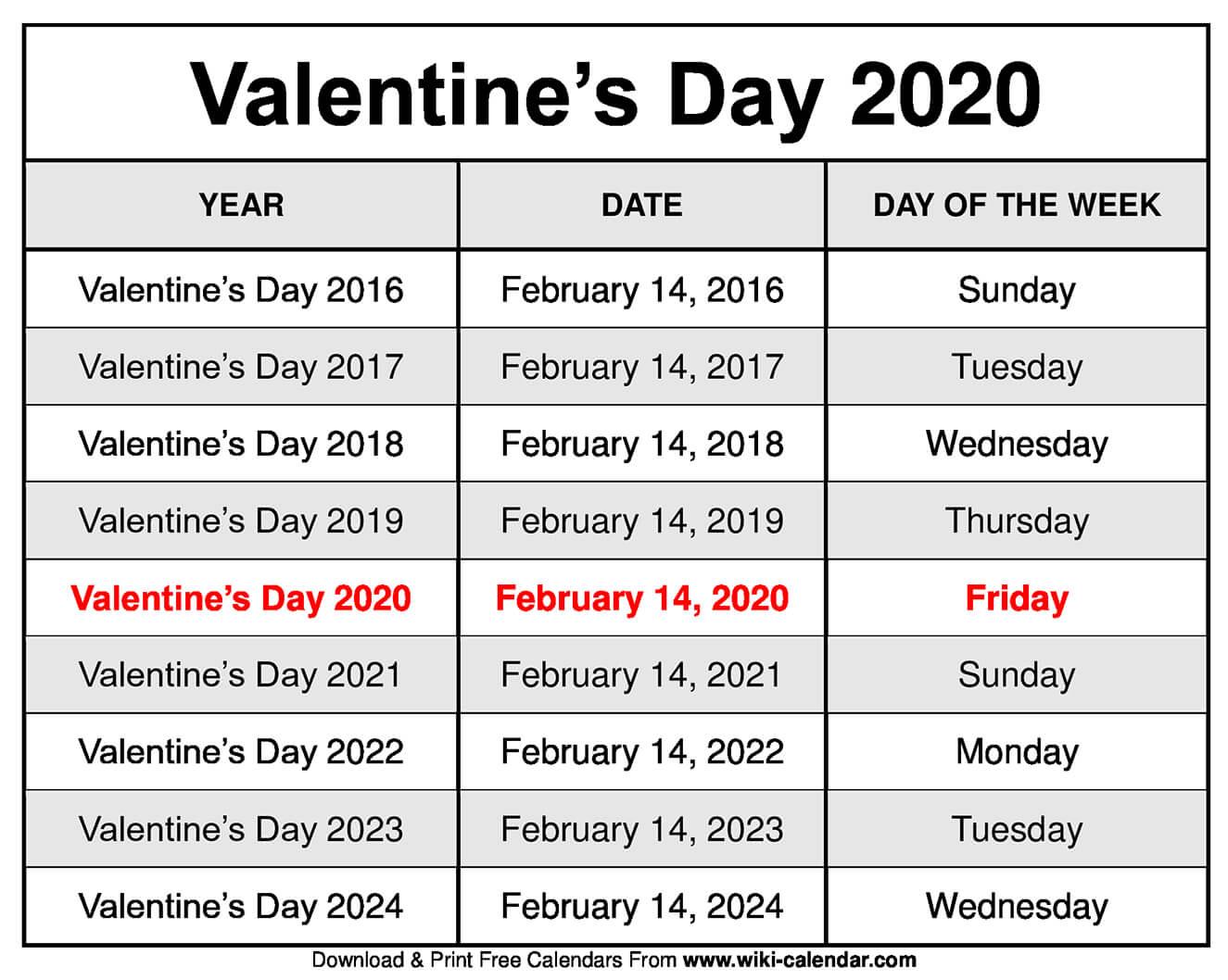 Valentine's Day 2020 Calendar