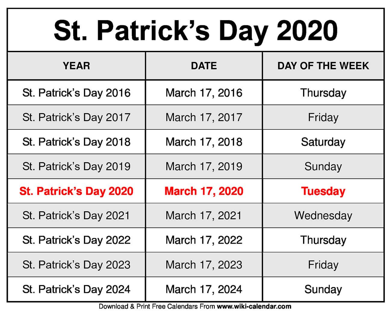 St. Patrick's Day 2020 Calendar