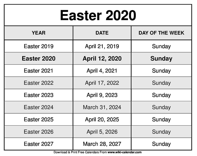 Easter 2020 Calendar