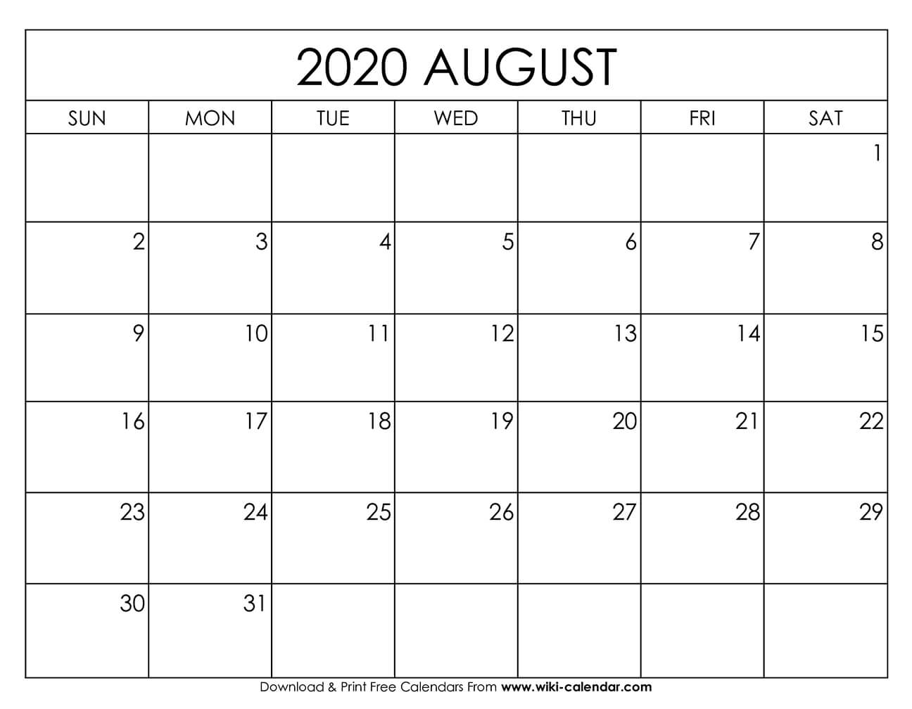 August 2020 Calendar Template