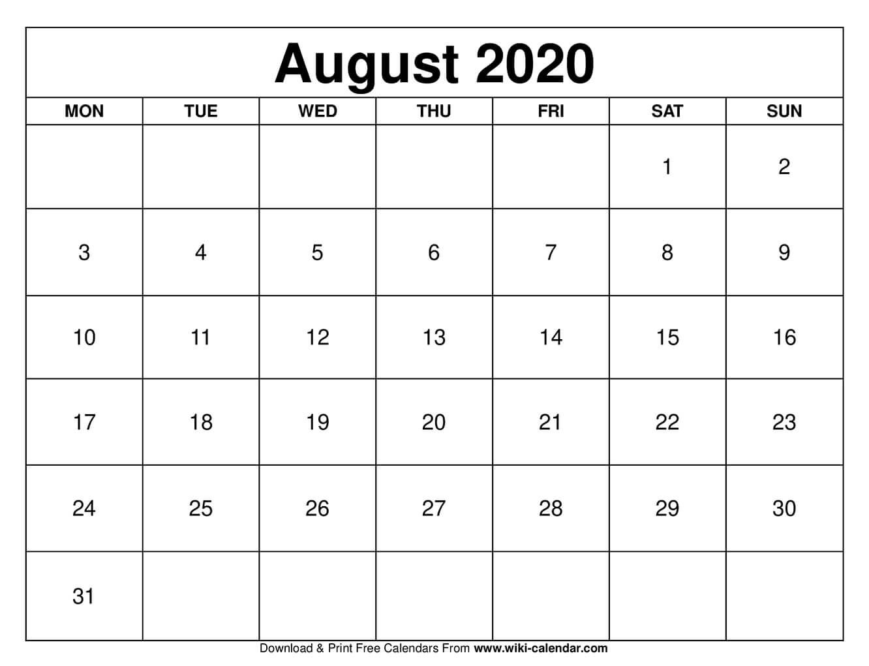 August 2020 Printable Monday Calendar