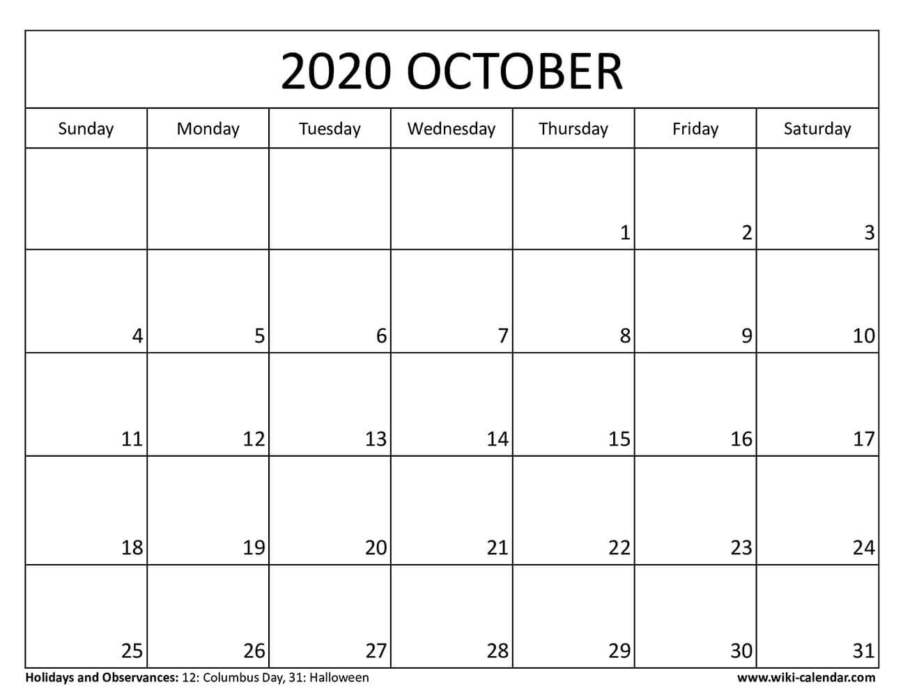 Blank October 2020 Calendar