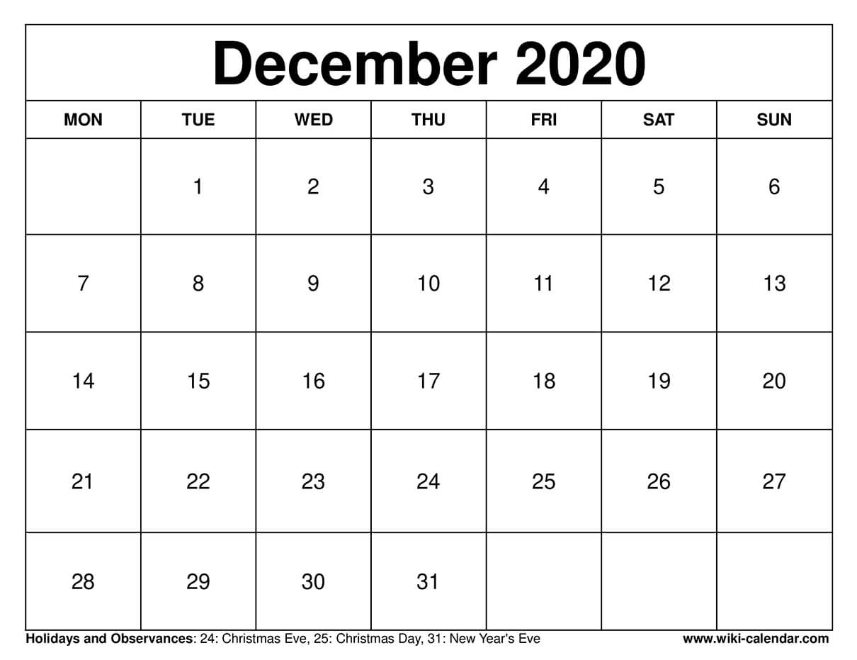 December 2020 Printable Monday Calendar