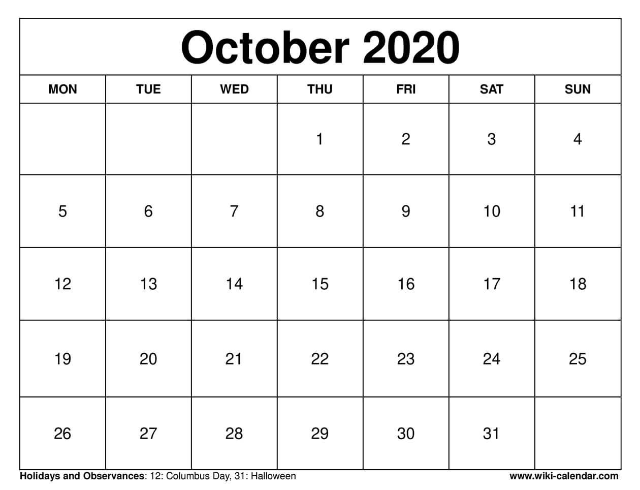 October 2020 Printable Monday Calendar