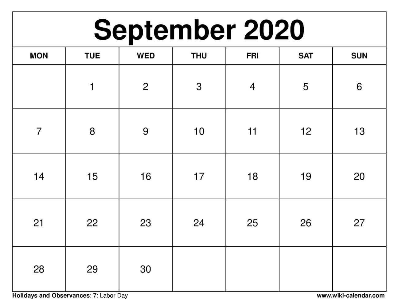 September 2020 Printable Monday Calendar