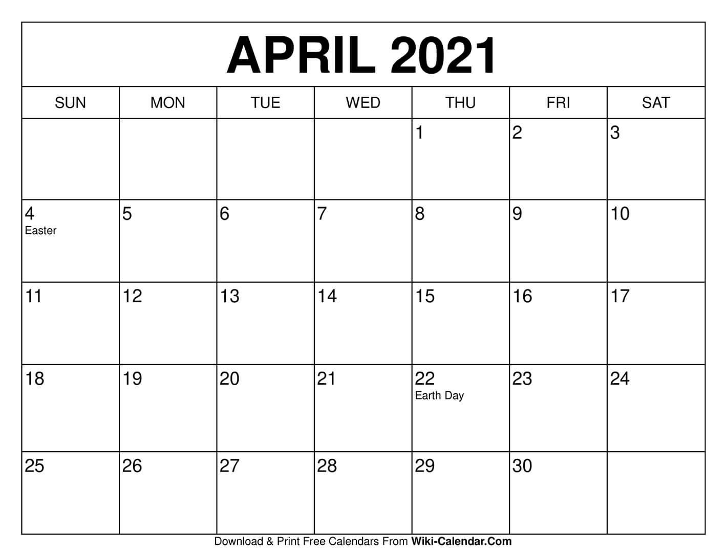 Free Printable April 2021 Calendars