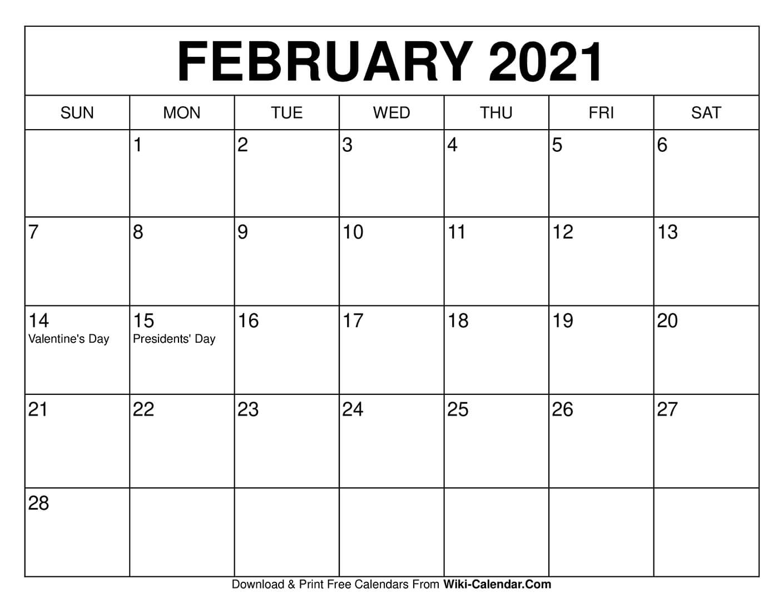 2021 Calendar Printable February