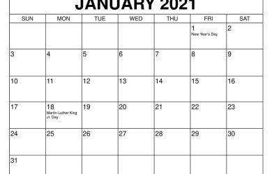 January 2021 Calendar