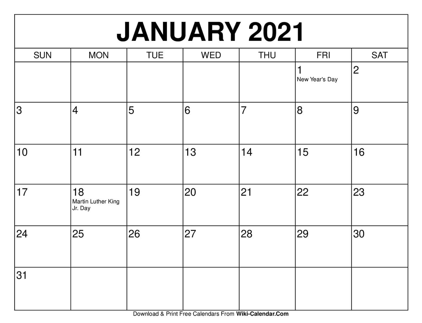 Calendar Template January 2021 Free Printable January 2021 Calendars
