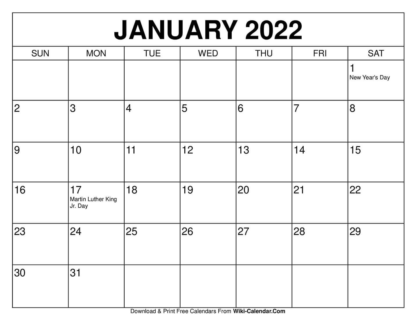 Calendar For 2021 January Free Printable January 2021 Calendars