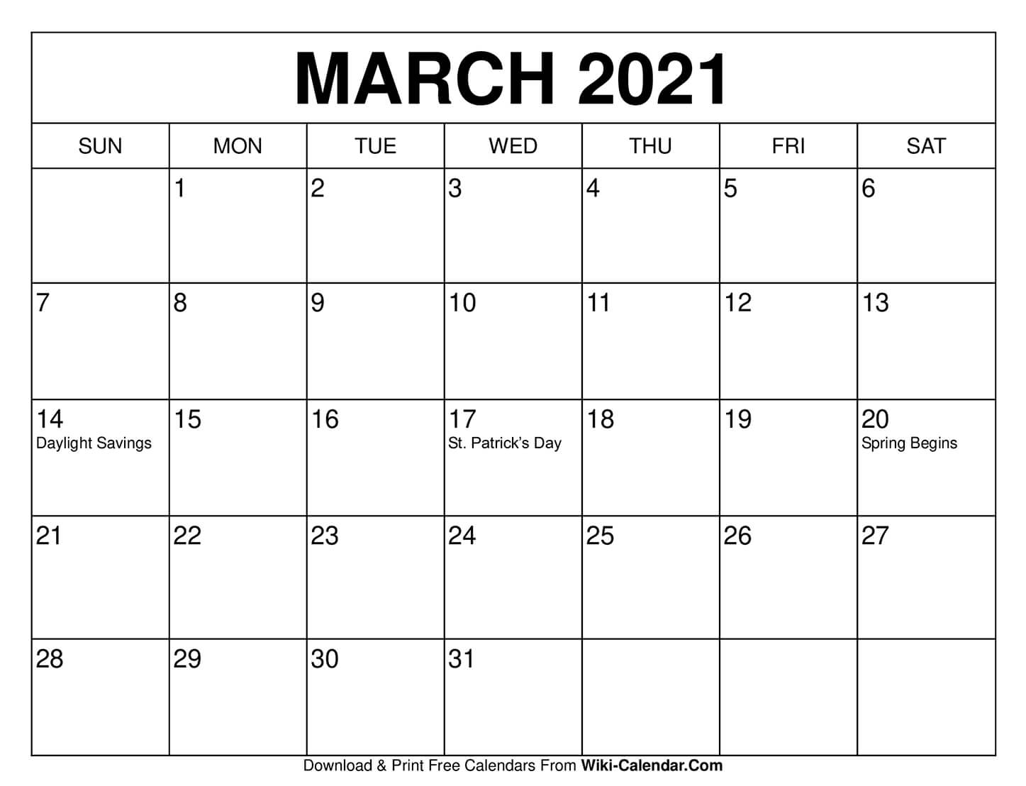March 2021 Monthly Calendar Free Printable March 2021 Calendars