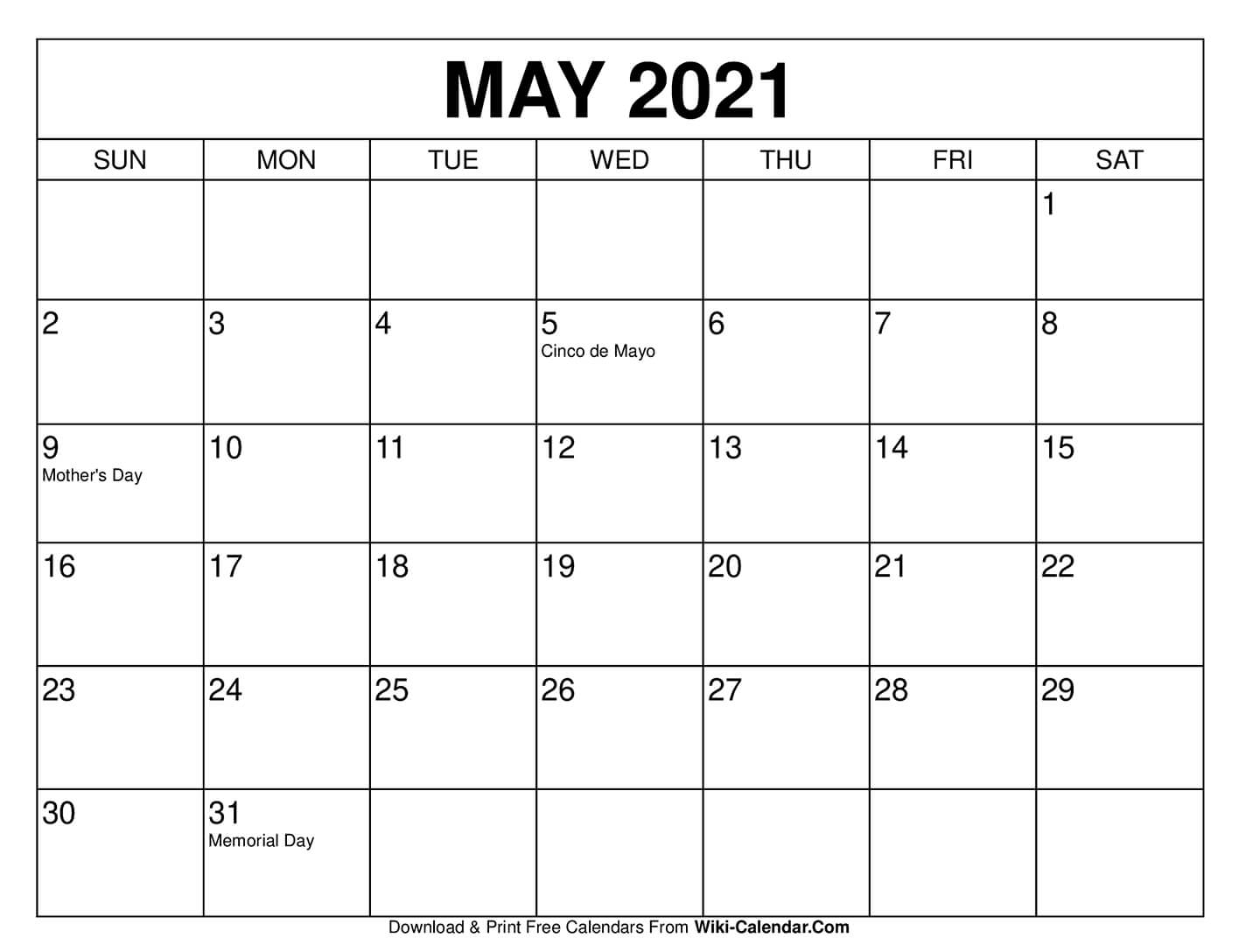 Calendar For May 2021 With Holidays Photos