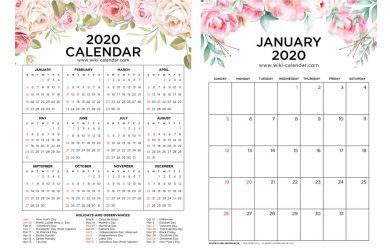 2020 Floral Calendar