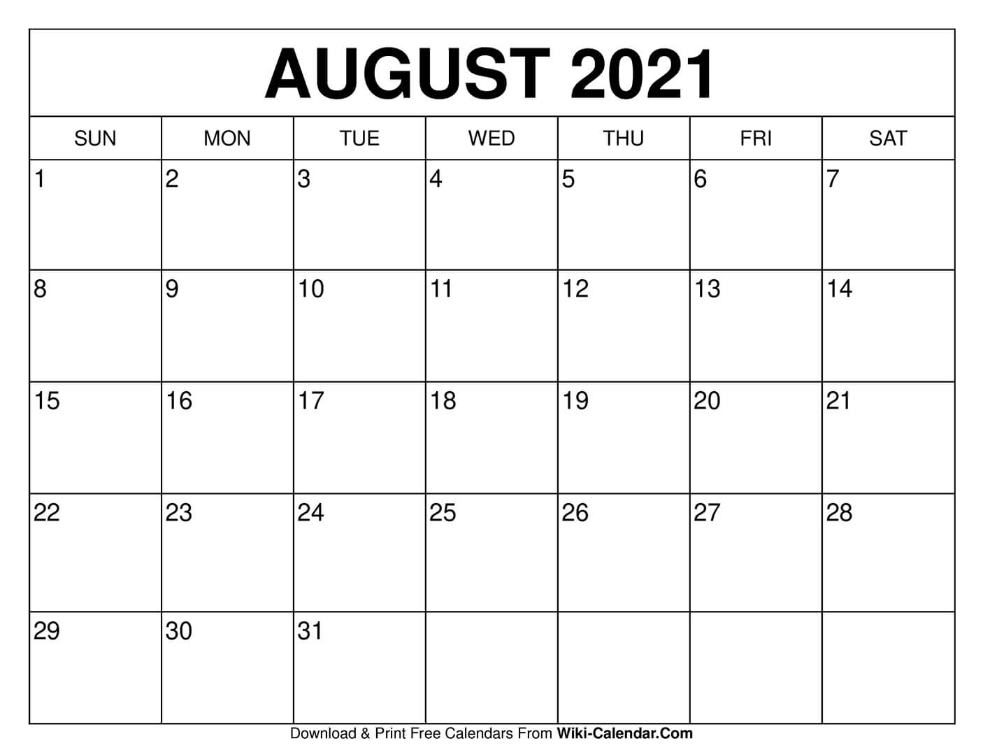 2021 Calendar Printable August Photos